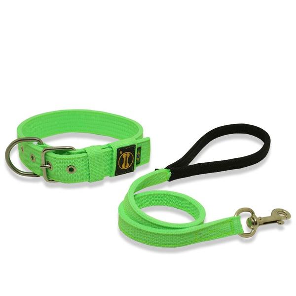 Coleira Para Cachorro Fit + Guia / verde fluor