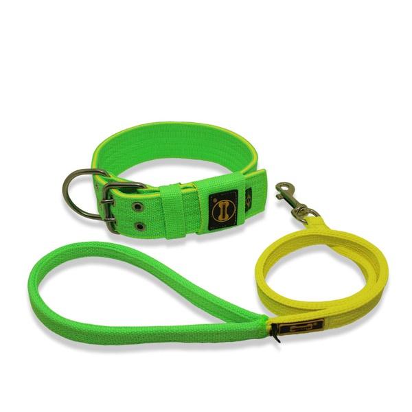 Coleira Para Cachorro Amorosso + Guia Curta 80cm (Verde Fluor e Amarelo Flúor)