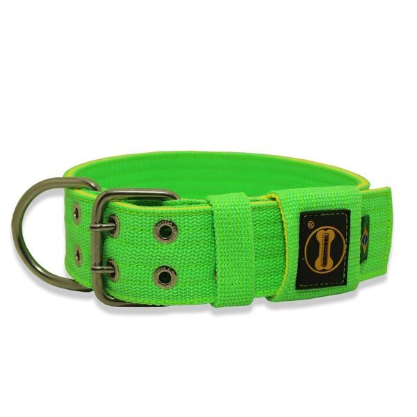 Coleira Para Cachorro Amorosso Verde Flúor e Amarelo Fluor