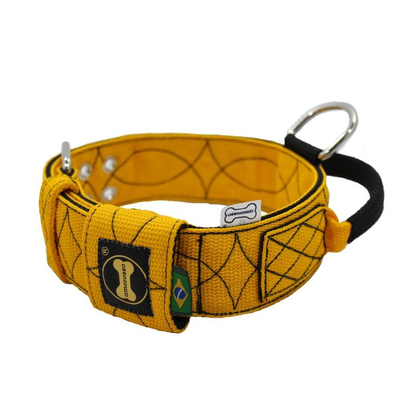 Coleira Para Cachorro Poderosso - Fatto a Mano (amarelo e preto)