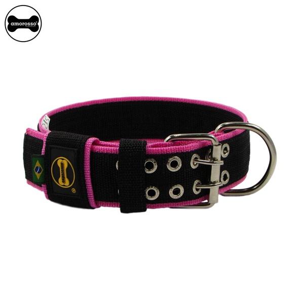 Coleira Para Cachorro Amorosso Slim (preto e pink)
