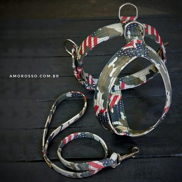 Conjunto Amorosso® Camuflado U.S.A. (Peitoral + Guia)