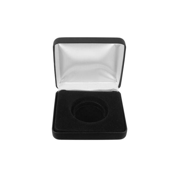 Caixa expositora para uma moeda em couro sintético