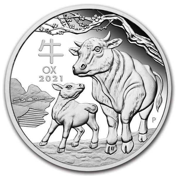 2021 Silver 1 oz Australia Perth Lunar Ox BU