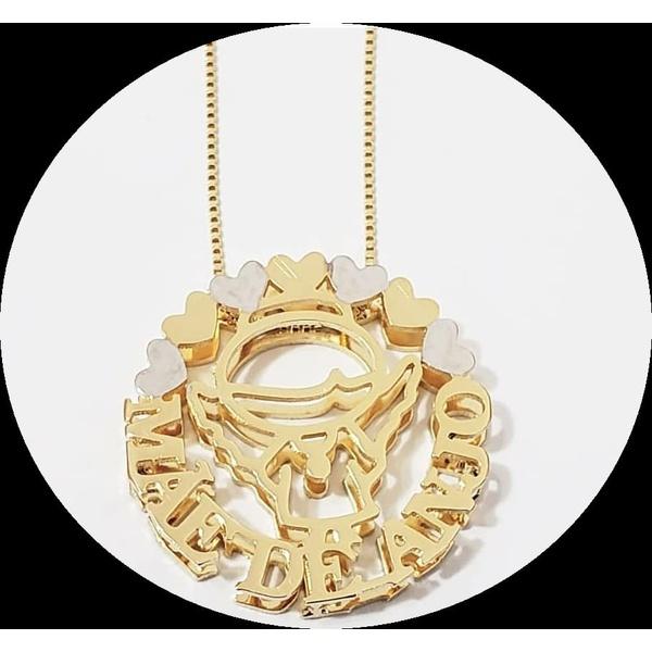 Gargantilha Mandala Dupla Em Banho de Ouro Personalizada Mãe de Anjo (s)