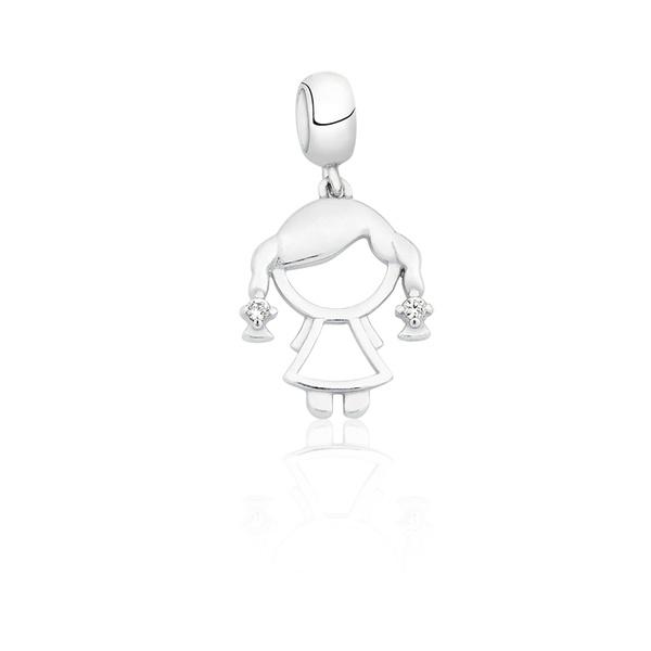Pingente Berloque em Prata 925 Menina Com Zircônia Branca