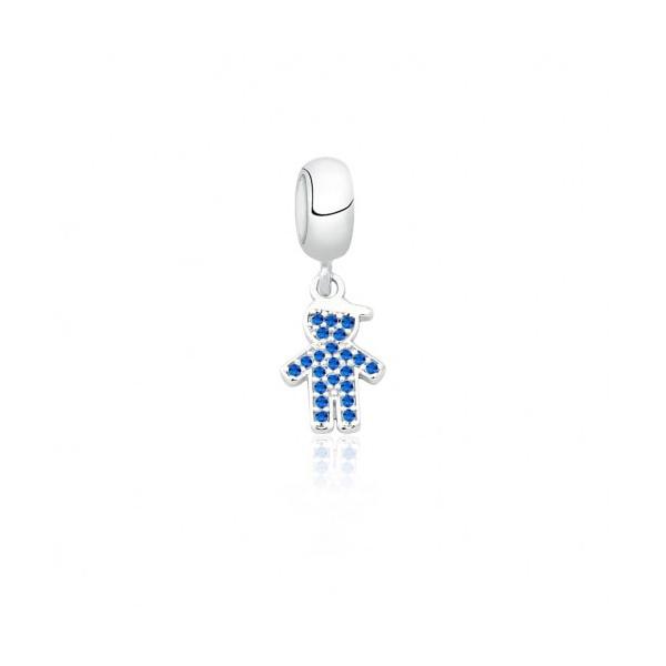 Pingente Berloque em Prata 925 Menino Com Zircônia Azul