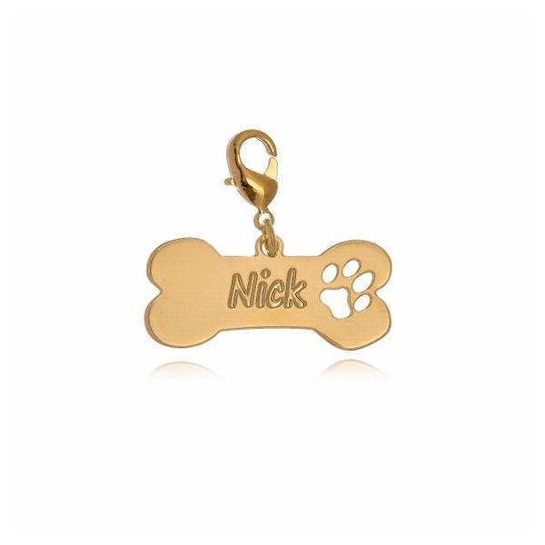 Pingente Personalizado Pet Para Coleira Banhado a Ouro