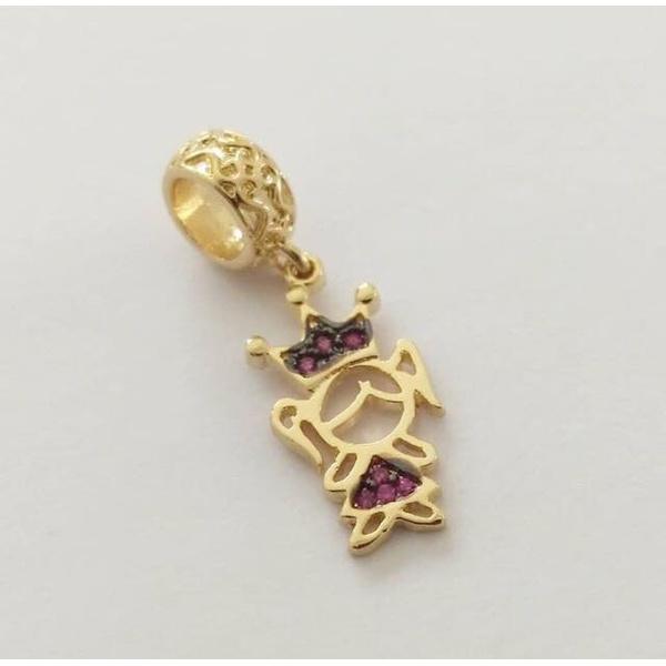 Pingente Berloque Cravejado em Zircônias Banhado a ouro Menina