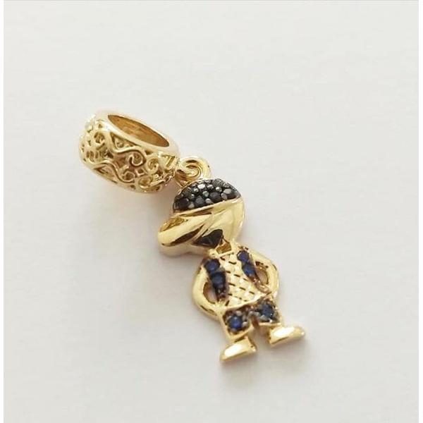 Pingente Berloque Cravejado em Zircônias Banhado a ouro Menino