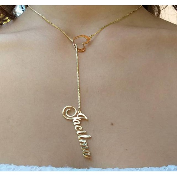 Colar Gravatinha Personalizado Nome e Coração Banhado a Ouro