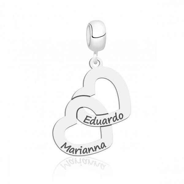 Pingente Berloque em Prata 925 Personalizado Dois Nomes Corações