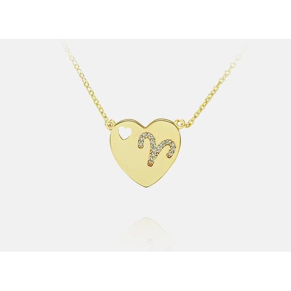 Colar de coração com signo Banhada a Ouro - Áries