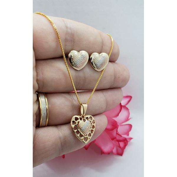Conjunto Brinco e Gargantilha Coração nos Três Tons de Ouro
