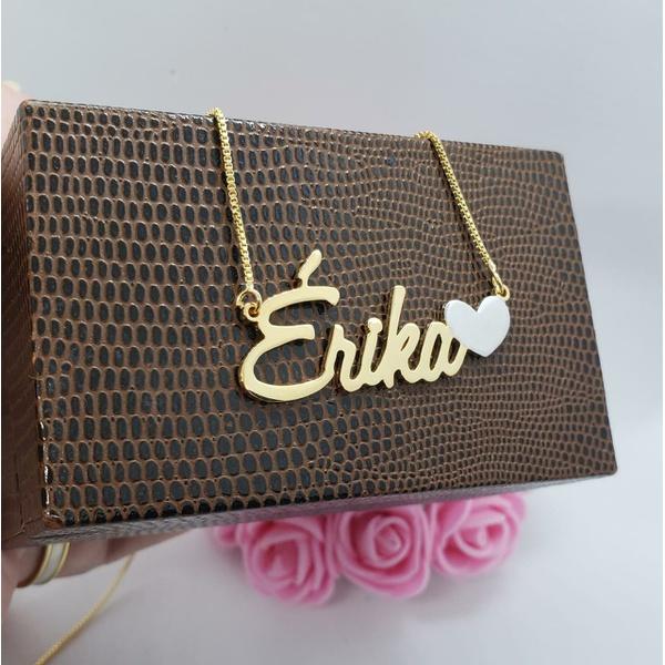 Gargantilha Personalizada Nome Simples Banhada a Ouro Placa Reforçada e Coração