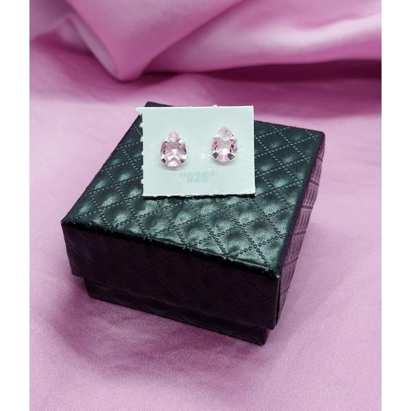 Brinco Gota 6x8 em Prata 925 - Rosa