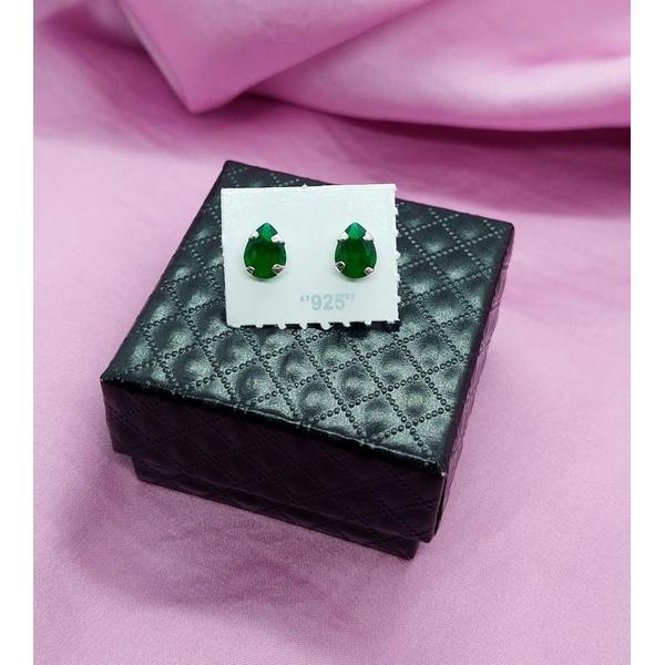 Brinco Gota 6x8 em Prata 925 - Esmeralda