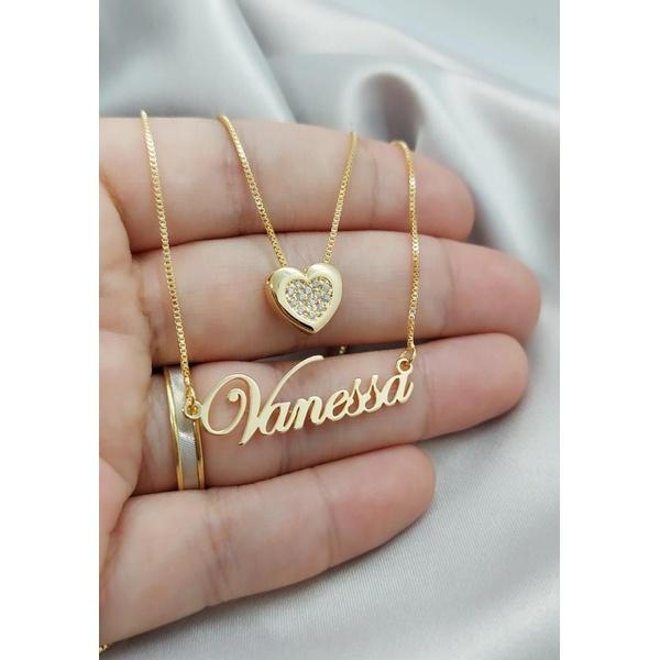 Gargantilha Dupla Nome e Coração Cravejado Banhado a Ouro