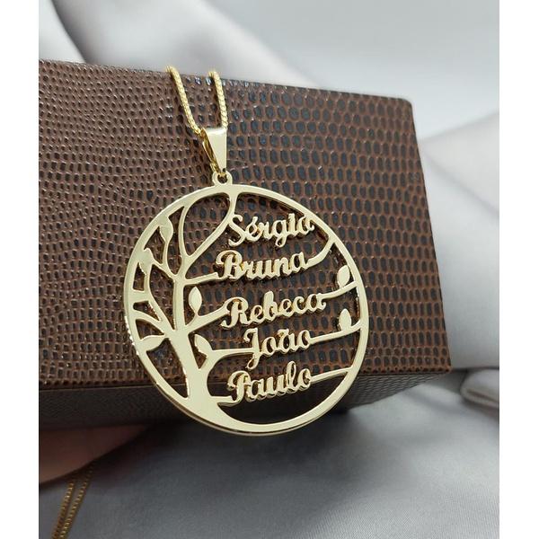 Gargantilha Mandala Banhada a Ouro Árvore da Vida Com Até 5 Nomes