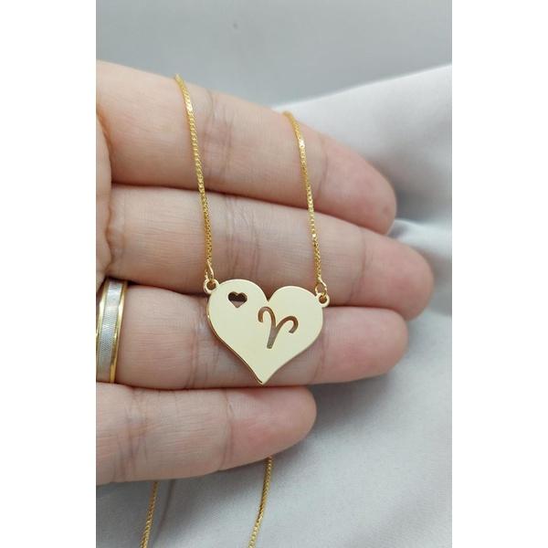 Colar de coração com signo Banhada a Ouro