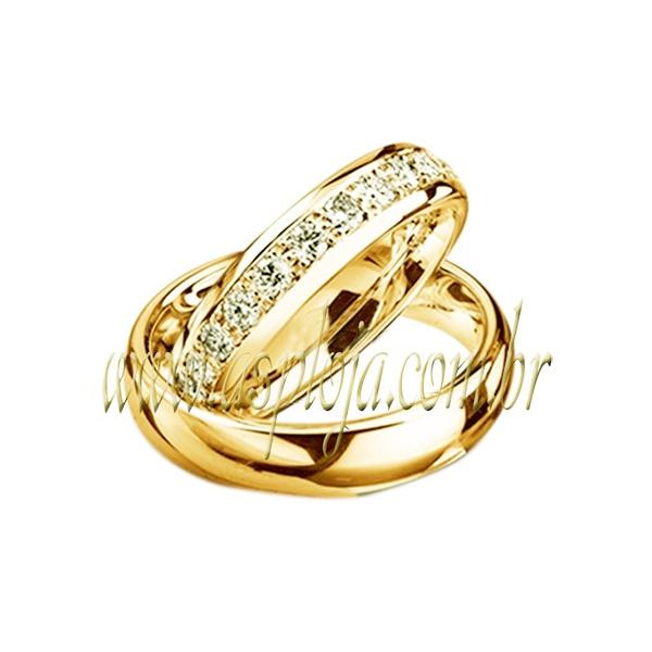 Aliança de casamento ou noivado linha diamantes em ouro 18K-750 largura 4,5 mm-ASP-AL-96
