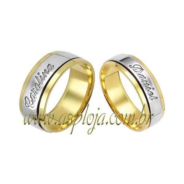 Aliança personalizada semi confort ouro amarelo com detalhe em ouro branco 18K-750 largura 7,00mm-ASP-AL59