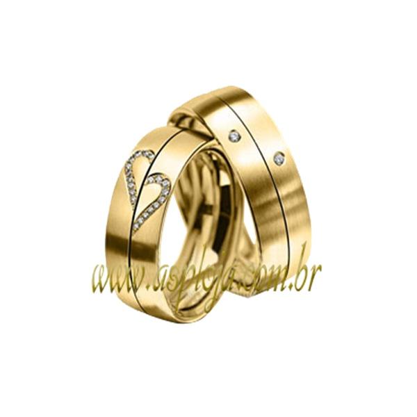 Aliança de Noivado ou casamento duo cor confort cravada com diamantes 6,50 mm-ASP-AL46