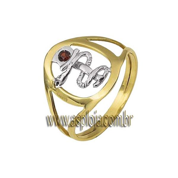 Anel de formatura em Ouro amarelo 18k 750 com símbolo em ouro branco - ASP-AF-14