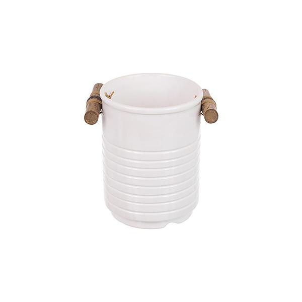Porta Utensílios Bambu Branco