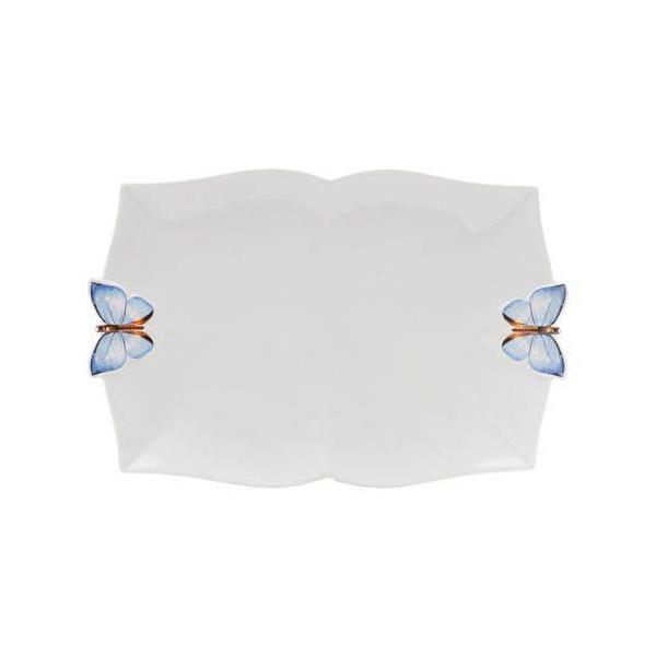 Travessa Retangular Borboleta Azul M