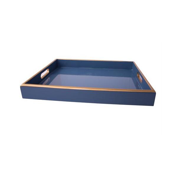 Bandeja Annie Azul Hortência com Filete Dourado P