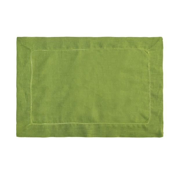 Jogo americano de cambraia de linho verde folha retangular
