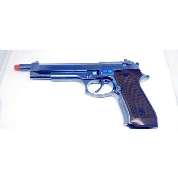 PISTOLA DE AIRSOFT GBB WE M92 FULL METAL LONG BLOWBACK CROMADA