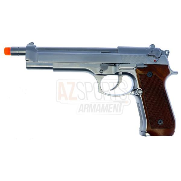 PISTOLA DE AIRSOFT GBB WE M92 LONG BLOWBACK CROMADA