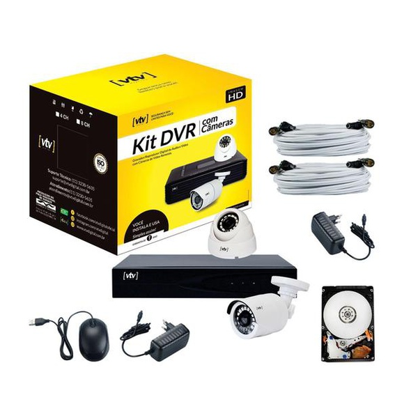 KIT DVR AHD 5X1 1080P 4CH + HD 500GB + 2 CÂMERAS