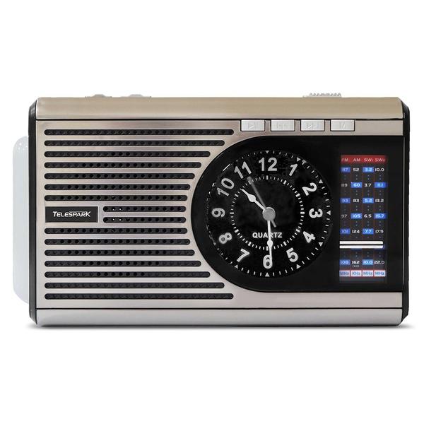 RÁDIO PORTÁTIL MP3 TELESPARK CLOCK SI