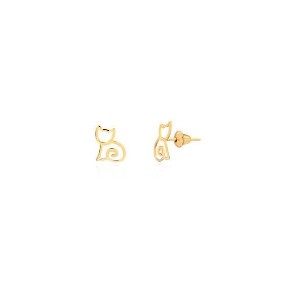 Brinco de ouro amarelo 18k - Gato contorno