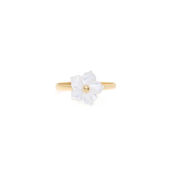Anel infantil ouro amarelo 18k - Flor madreperola branca