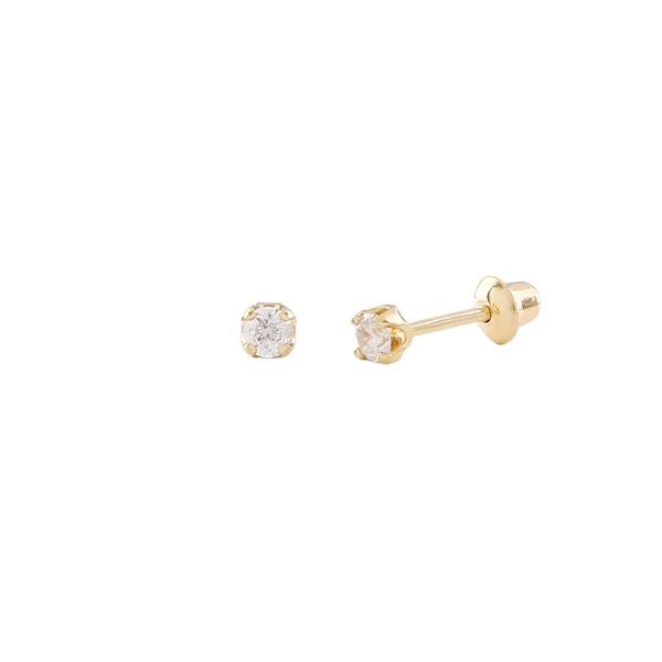 Brinco baby ouro amarelo 18k com diamantes - Solitario