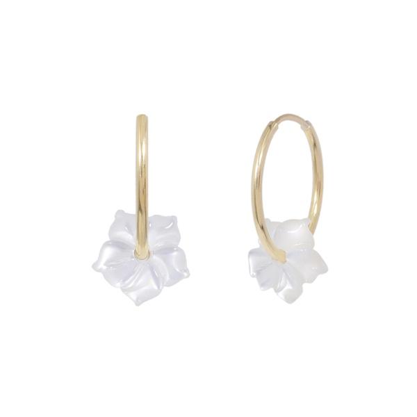 Brinco de ouro amarelo 18k - Argola flor madreperola branca