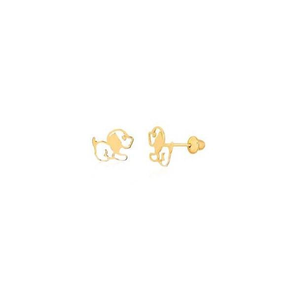 Brinco de ouro amarelo 18k - Cachorro