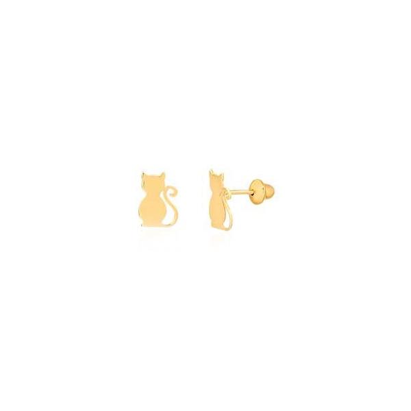 Brinco de ouro amarelo 18k - Gato