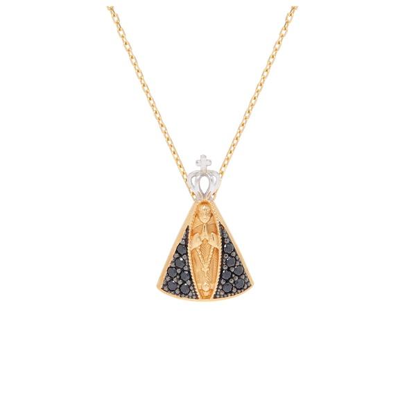 Pingente ouro amarelo 18k com cristais - Nossa Senhora Aparecida