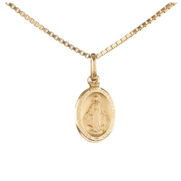 Pingente ouro amarelo 18k - Nossa Senhora Milagrosa