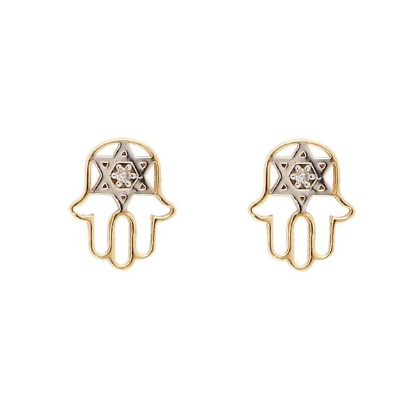 Brinco de ouro amarelo e ouro branco 18k com diamantes - Hamsa
