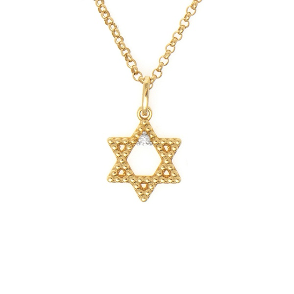 Pingente ouro amarelo 18k com diamante - Estrela de davi