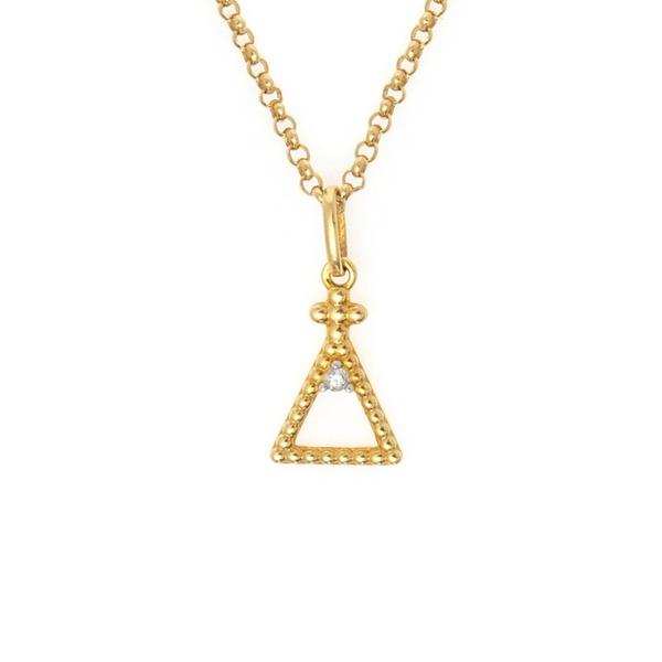 Pingente ouro amarelo 18k com diamante - Nossa senhora