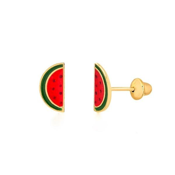 Brinco de ouro amarelo 18k - melancia