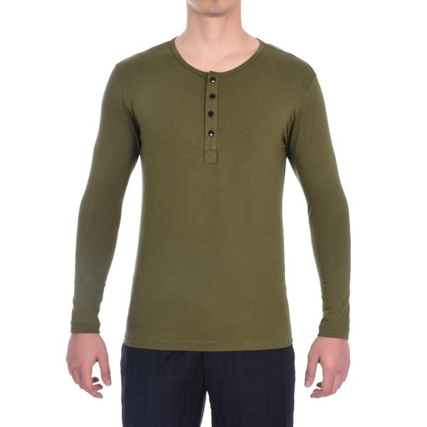 Camisa Henley Manga Longa Verde - Algodão Egípcio