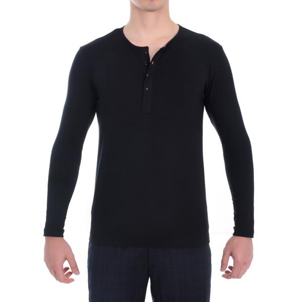 Camiseta Henley Manga Longa Masculina preta